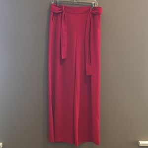 Red Palazzo Pant with Tie Belt